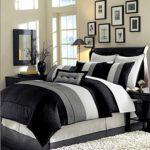 8 Piece Luxury Bedding Regatta comforter set Black / Grey / White Queen Size Bedding 94″X92″