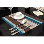 Amorus Washable Placemats Heat Insulation Non-slip Table Mats for Kitchen Dining Set of 6 (Blue)