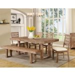 Coaster 105541 Elmwood Rustic Table and Chair Set with Dining Bench