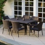 Del Mar Patio Furniture ~ 7-piece Outdoor Wicker Dining Set with Stacking Wicker Chairs