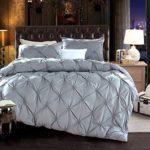 LA MEJOR Queen Size Luxurious Soft Pinch Pleat Decorative Pintuck Bedding Set Gray