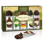 Tea Forté WORLD OF TEAS Single Steeps Loose Leaf Tea Sampler, 15 Single Serve Pouches – Green Tea, Herbal Tea, Black Tea, Chai Tea