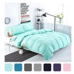 MIFE 4-Pieces Solid Color Bedding, Lightweight Micrifiber Duvet Cover Set, Green Bedding, One Flat Sheet One Duvet Cover Two Pillowcases (Twin, Mint Green)