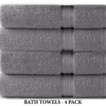 Cotton Craft Ultra Soft 4 Pack Oversized Extra Large Bath Towels 30×54 Charcoal weighs 22 Ounces – 100% Pure Ringspun Cotton – Luxurious Rayon trim – Ideal for everyday use – Easy care machine wash