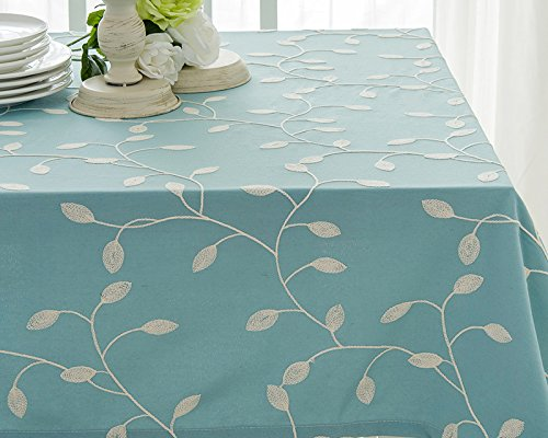 Tina Cotton Linen Tablecloth Leaf Embroidered Table Cover For Dinner  Kitchen Blue, 52u2033x70u2033