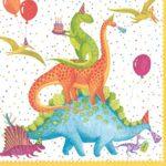 Entertaining with Caspari Partysaurus Paper Cocktail Napkins (20 Pack), Multicolor