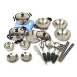 Kids Cooking Toys | Adorable 18 Piece Stainless Steel Kids Cookware Pots and Pans Toy | Durable Dishwasher Safe Toys Cooking Set | Realistic Utensil for Young Chef | 1441