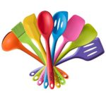 TTLIFE Silicone Spatula Utensil Kitchen Colorful 8 Pieces With Turner, Slotted spoon, Ladle, Spoon, Spoon Spatula, Spooula, Spatula, Basting brush