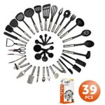 Mr. & Mrs. Kitchen Cooking Utensils Set – 39 Piece Premium Tool and Gadget Set Stainless Steel And Nylon – Turners, Tongs, Spatulas, Pizza Cutter, Whisk, Bottle Opener, Grater, Peeler, Can Opener