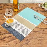 HEBE Placemats for Kitchen Table Washable Placemat Set of 6 Heat Resistant Woven Vinyl Dining Table Mats Place Mats Easy to Clean(6, Blue)