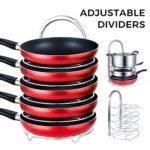 Lifewit Height Adjustable Pan Pot Organizer Rack, 5-Tier Cookware Holder for Cabinet Worktop Storage, 18/10 Stainless Steel