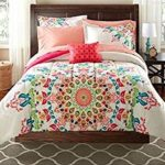 Teen Girls FULL Rainbow Unique Prism Pink Blue Green Colorful Patten Bedding Set (8 Piece Bed in a Bag)