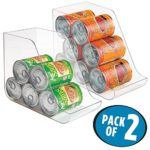 mDesign Canned Food Storage and Soda Organizer for Kitchen Pantry or Cabinet – Pack of 2, Clear