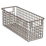 InterDesign Classico Wire Storage Basket for Kitchen, Pantry, Cabinet – Deep, 16″ x 6.1″ x 6.1″, Bronze