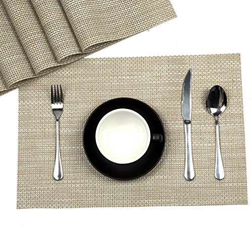 hihome cream white placemats set washable placemats for kitchen dining table vinyl placemats set of 6 pcs cream 6 cream - Vinyl Placemats