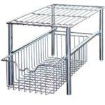DecoBros Stackable Under Sink Cabinet Sliding Basket Organizer Drawer,Chrome