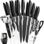Stainless Steel Knife Set with Block – 13 Kitchen Knives Set Chef Knife Set with Knife Sharpener , 6 Steak Knives , Bonus Peeler Scissors Cheese Pizza Knife & Acrylic Stand – Best Cutlery Set Gift