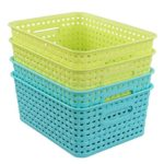 Kekow Plastic Storage Baskets for Bathroom, Beauty and Closets Organization, 4-Pack