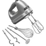 KitchenAid KHM926CU 9-Speed Digital Hand Mixer with Turbo Beater II Accessories and Pro Whisk – Contour Silver