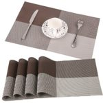 FitStill Dining Kitchen Table Placemats, Heat-resistant, Non-slip Natural Woven Look with Vinyl Wipe Clean Washable Splice Insulation Mats, Set of 4 (Gray)