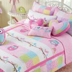 Cozy Line Pink Owl 2 Pcs Quilt Set for Kids/Girls Bedding, Twin Size