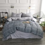 BuLuTu Grid Cotton Twin Duvet Cover Set Grey With 2 Pillowcases Super Soft Kids Bedding Collections For Teen Boys Girls Zipper Closure,Twin