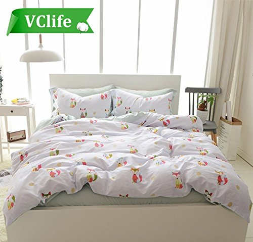 cotton light covers collections sets white kids bedding twin cover green x vclife fox boys girls duvet