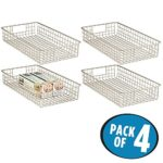 mDesign Wire Storage Basket for Kitchen, Pantry, Cabinet – Pack of 4, Slim, Satin